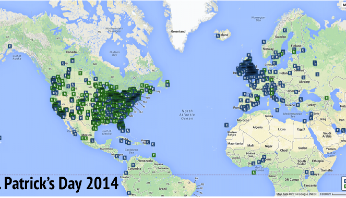 Location of Green Beer and Irish Stout Tweets during St. Patrick's Day 2014